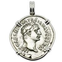 Roman Empire AD 100, Emperor Trajan and Victory denarius in 14k white gold pendant.