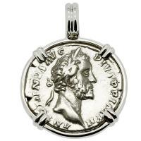 Roman Empire AD 156-157, Antoninus Pius and Annona denarius in 14k white gold pendant.