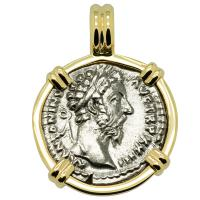 Roman Empire AD 168-169, Marcus Aurelius and Felicitas denarius in 14k gold pendant.