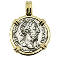 Roman Empire AD 175-176, Marcus Aurelius and Securitas denarius in 14k gold pendant.