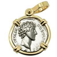 Roman Empire AD 140-144, Marcus Aurelius as Caesar denarius in 14k gold pendant.