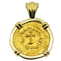 Byzantine AD 582-602, Cross and Emperor Tiberius gold tremissis in 18k gold pendant.