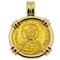 Byzantine 945-959, Jesus Christ with Constantine VII and Romanus II Solidus in 14k gold pendant.