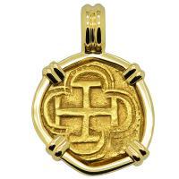 Spanish one escudo 1591-1598 in 18k gold pendant.