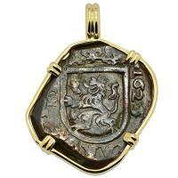 Spanish 8 maravedis dated 1625, in 14k gold pendant.