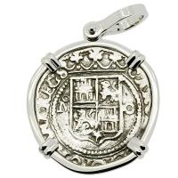 Colonial Spanish Mexico, Johanna and Charles I one real 1555-1571, in 14k white gold pendant.