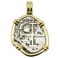 Colonial Spanish Peru, King Charles II one real dated 1689, in 14k gold pendant.