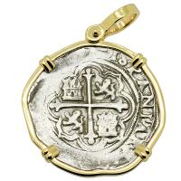 Colonial Spanish Mexico, King Philip II two reales 1571-1589, in 14k gold pendant.