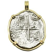 Colonial Spanish Peru, King Philip III 4 reales 1598 - 1621, in 14k gold pendant.