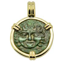 Greek Sicily 420-410 BC, Gorgon and Owl tetras in 14k gold pendant.