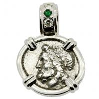 Greek 175-168 BC, Zeus and Pan triobol, in 14k white gold pendant with diamonds & emerald.