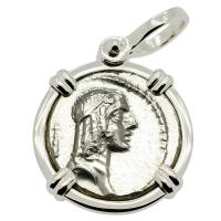 Roman Republic 61 BC, Apollo and Horseman denarius in 14k white gold pendant.