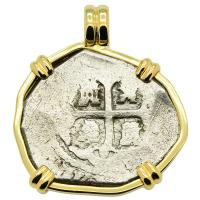 Spanish 4 reales circa 1730's in 14k gold pendant, 1739 Dutch Shipwreck off England.