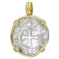 #7339 Crusader Cross Tournois Pendant
