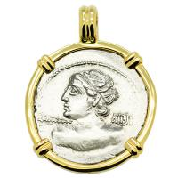 Roman Republic 84 BC, Apollo with thunderbolt denarius in 14k gold pendant.