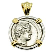 Roman Republic 82 BC, Apollo and Satyr Marsyas denarius in 14k white & yellow gold pendant.