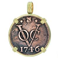 #7419 Dutch VOC Duit Pendant