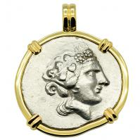 Greek 140-80 BC, God of Wine Dionysus and Hercules tetradrachm in 14k gold pendant.