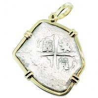 #7593 Spanish 1715 Fleet Shipwreck 8 Reales Pendant
