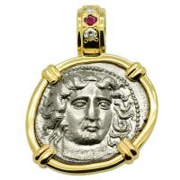 Greek 380-365 BC, Nymph Larissa and Horse drachm in 14k gold pendant with diamonds & ruby.