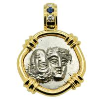 Greek 400-350 BC, Gemini Twins of Istros drachm in 14k gold pendant with diamonds and sapphire.