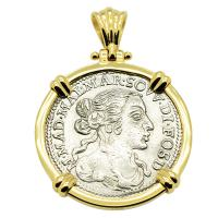 Italian Luigino dated 1667 in 14k gold pendant, 1667 merchantman shipwreck Gela Sicily.