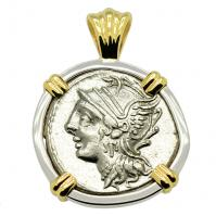 Roman Republic 104 BC, Roma and Victory denarius in 14k white and yellow gold pendant.