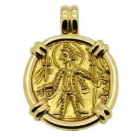 Kushan Empire AD 290-310, gold dinar in 14k gold pendant.