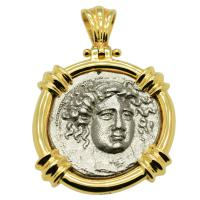 Greek 405-370 BC, Nymph Larissa and Horse drachm in 14k gold pendant.