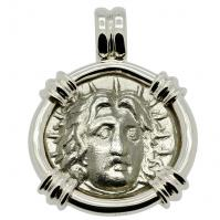 Greek 265-250 BC, Sun God Helios and Rose didrachm in 14k white gold pendant.