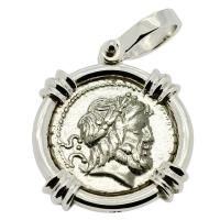 Roman Republic 80 BC, King and Queen of Gods denarius in 14k white gold pendant.