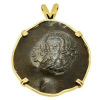 Byzantine 1195 – 1203, Jesus Christ aspron trachy in 14k gold pendant.