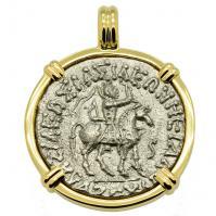 #7982 King Azes & Athena Tetradrachm Pendant