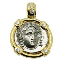 Greek 305-275 BC, Sun God Helios and Rose didrachm in 14k gold pendant with diamonds.