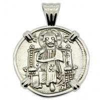 Venice 1229-1249, Jesus Christ and Saint Mark grosso in 14k white gold pendant