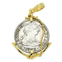 Spanish 2 reales dated 1783 in 14k gold anchor pendant, The 1784 Shipwreck that Changed America.