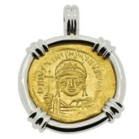 Byzantine AD 527-565, Justinian the Great gold solidus in 14k white gold pendant.