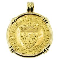 SOLD #8096 French King Charles VI Ecu Pendant; Please Explore Our Gold Coin Pendants For Similar Items.