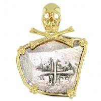 Spanish 4 reales 1700-1715, in 14k gold skull and bones pendant, 1715 Treasure Fleet Shipwreck, Florida.