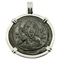 Byzantine 1078–1081, bronze follis in 14k white gold pendant.
