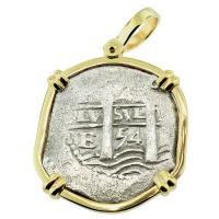 SOLD #8188 La Capitana Shipwreck 4 Reales Pendant; Please Explore Our Spanish Shipwreck Pendants For Similar Items.
