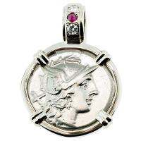 #8213 Roma and Dioscuri Denarius Pendant
