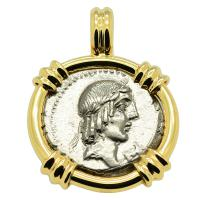 Roman Republic 90 BC, Apollo and Horseman denarius in 14k gold pendant.