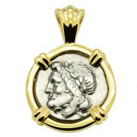 Greek 175-168 BC, Zeus and Pan triobol in 14k gold pendant.