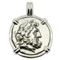 Greek 196-146 BC, Zeus and Athena stater in 14k white gold pendant.