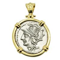 Roman Republic 104 BC, Roma and Saturn Chariot denarius in 14k gold pendant.