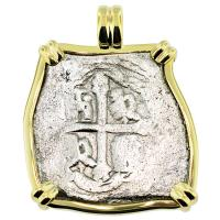 #8433 Spanish 1715 Fleet Shipwreck 4 Reales Pendant