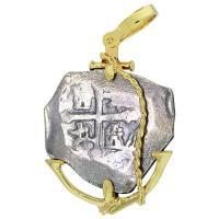 #8434 Spanish 1715 Fleet Shipwreck 4 Reales Pendant