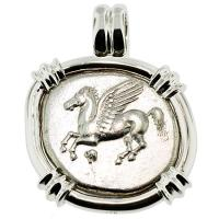 SOLD #8475 Pegasus & Athena Stater Pendant; Please Explore Our Greek Pendants For Similar Items.