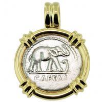 Roman Republic 49-48 BC, Julius Caesar Elephant denarius in 14k gold pendant.